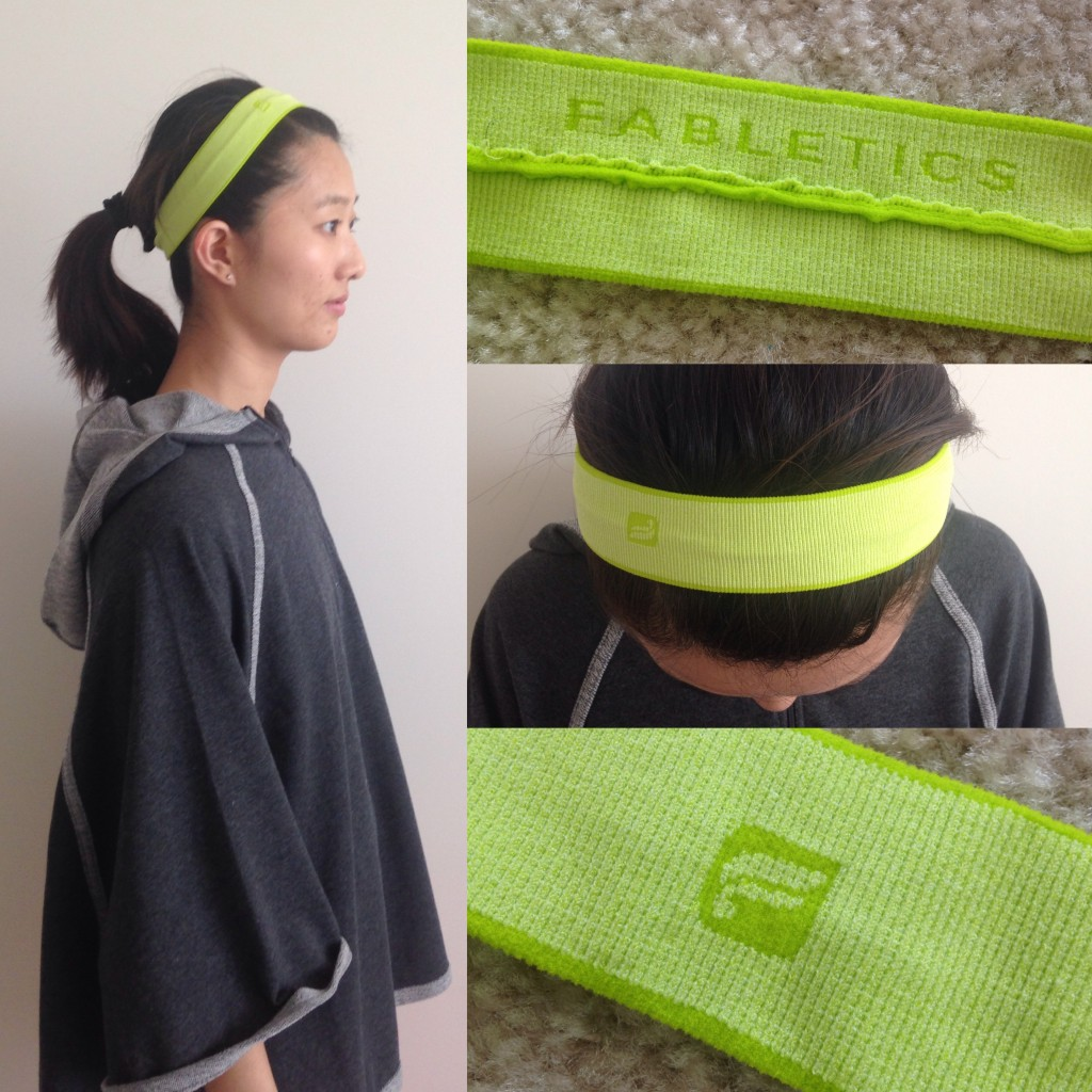 collage of top, side, and details of fabletics headband in ultra lemon