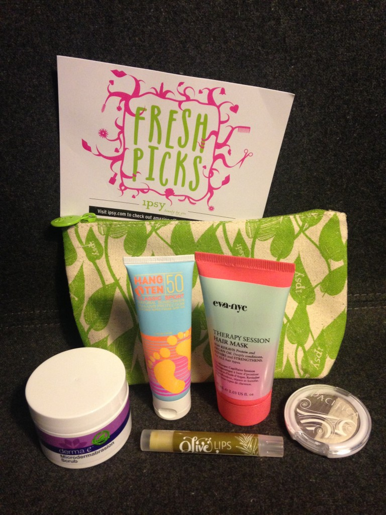 ipsy may 2014 bag items with card including derma e microdermabrasion scrub, hang ten classic sport spf 50, eva nyc therapy session hair mask, olive lips refreshing rosemary lip balm, and pacifica mineral eyeshadow duo in moonbeam and unicorn