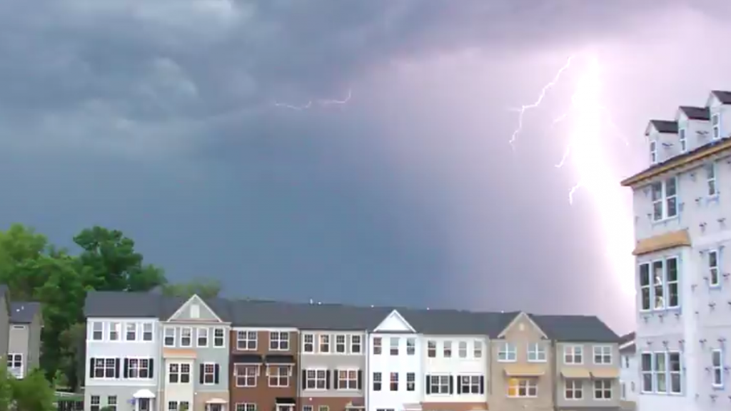 flash of lightning in thunderstorm