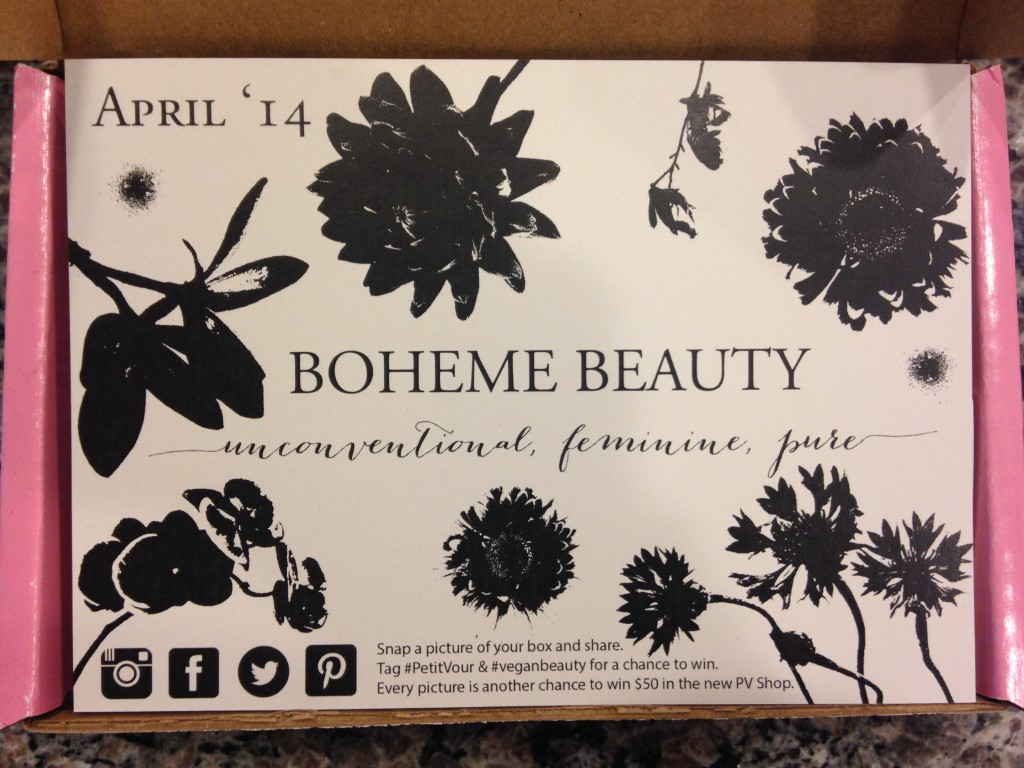 petit vour april 2014 box info card with boheme beauty theme