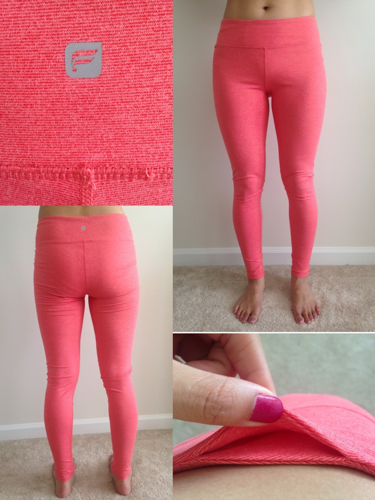 collage of front, back, detail, and hidden pocket of fabletics salar legging in flame orange