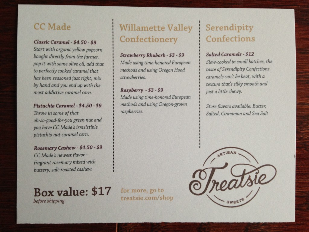 treatsie may 2014 info card