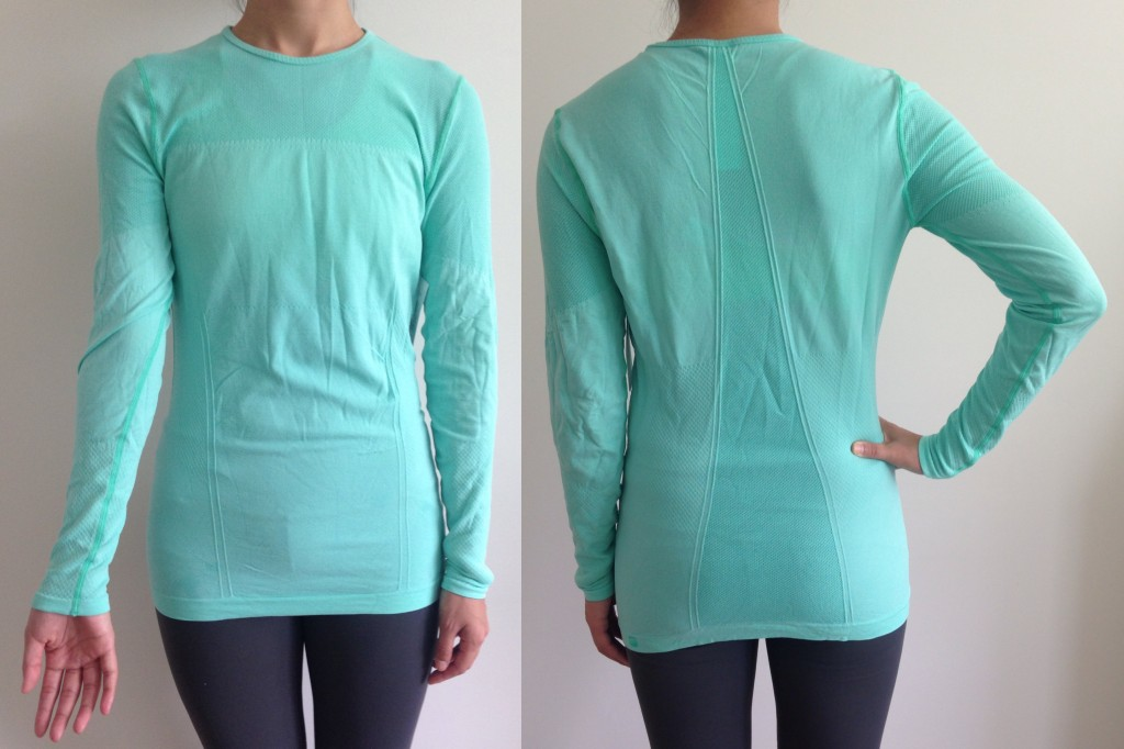 collage of front and back of fabletics eureka top in bright aqua