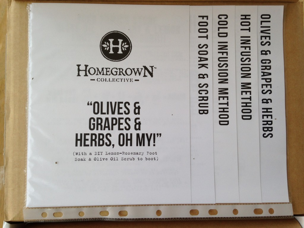 inside of olives grapes herbs oh my homegrown collective box with the info sheets on the inner lid