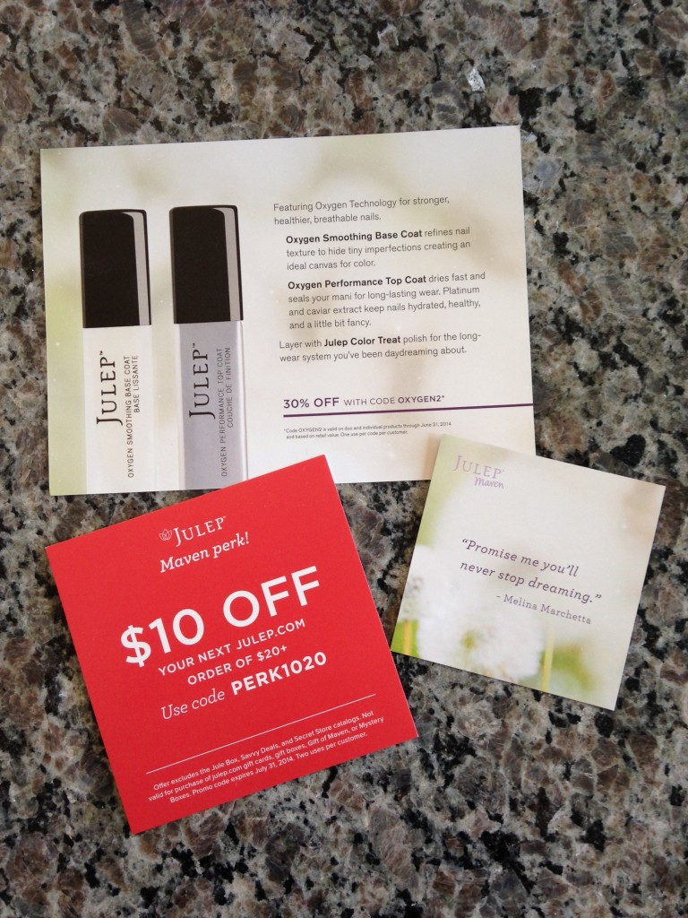 julep oxygen technology info card, discount offer card, and quote card