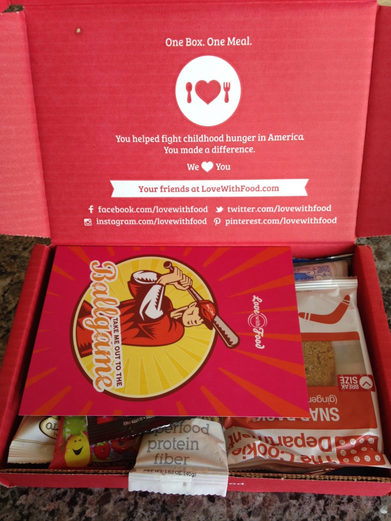 love with food june 2014 box first look with card and snacks in open box