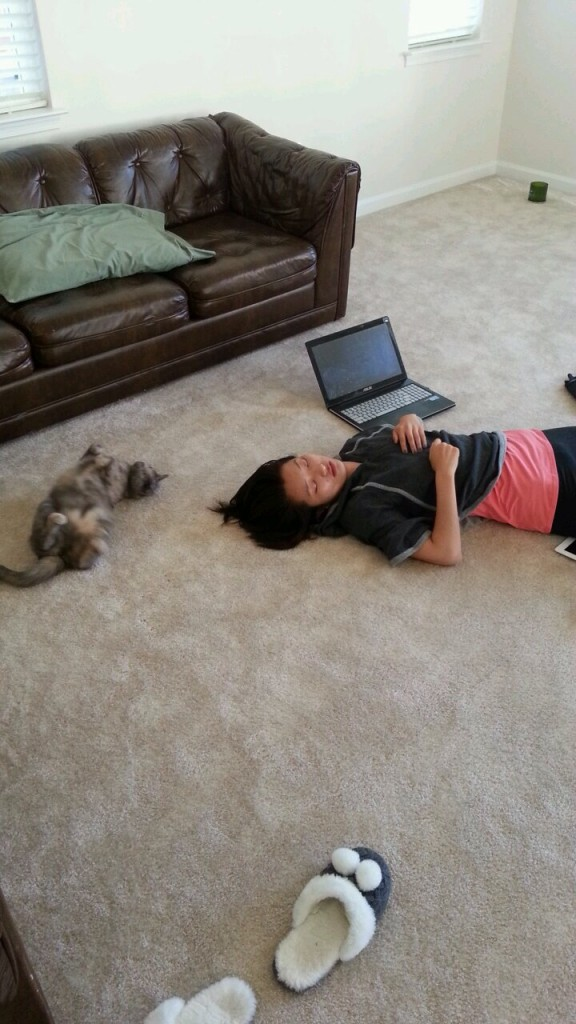 cat and person lying on ground sleeping