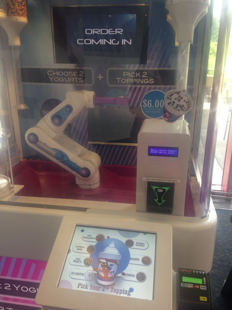I wanted to be served by a robot and get a commemorative cup, so we got some froyo.