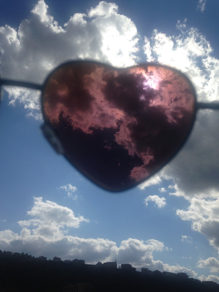 The world through my heart sunglasses.