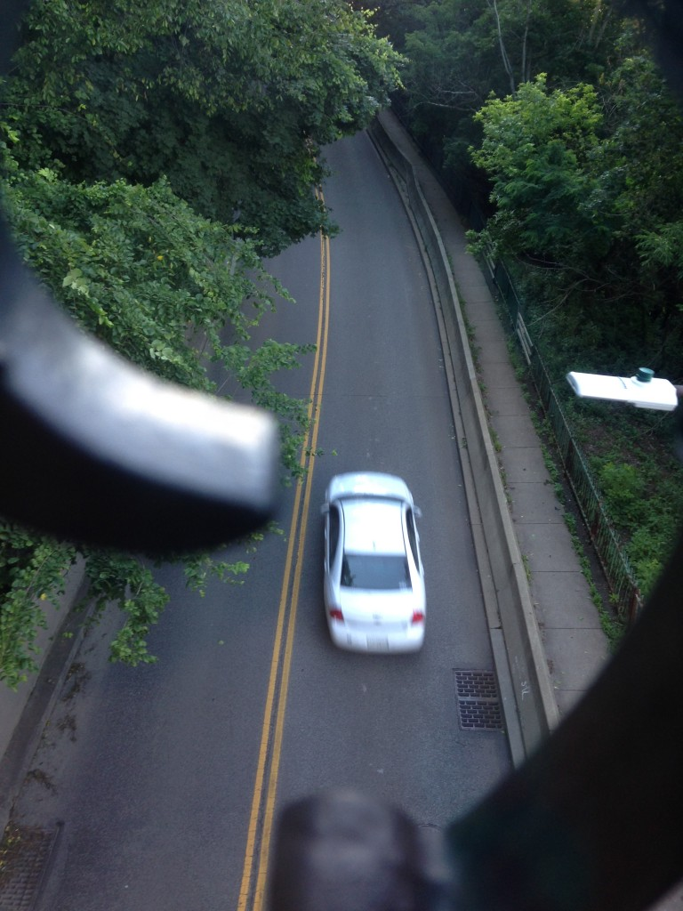 On our trip back down the incline, we pass over the road with cars driving under.