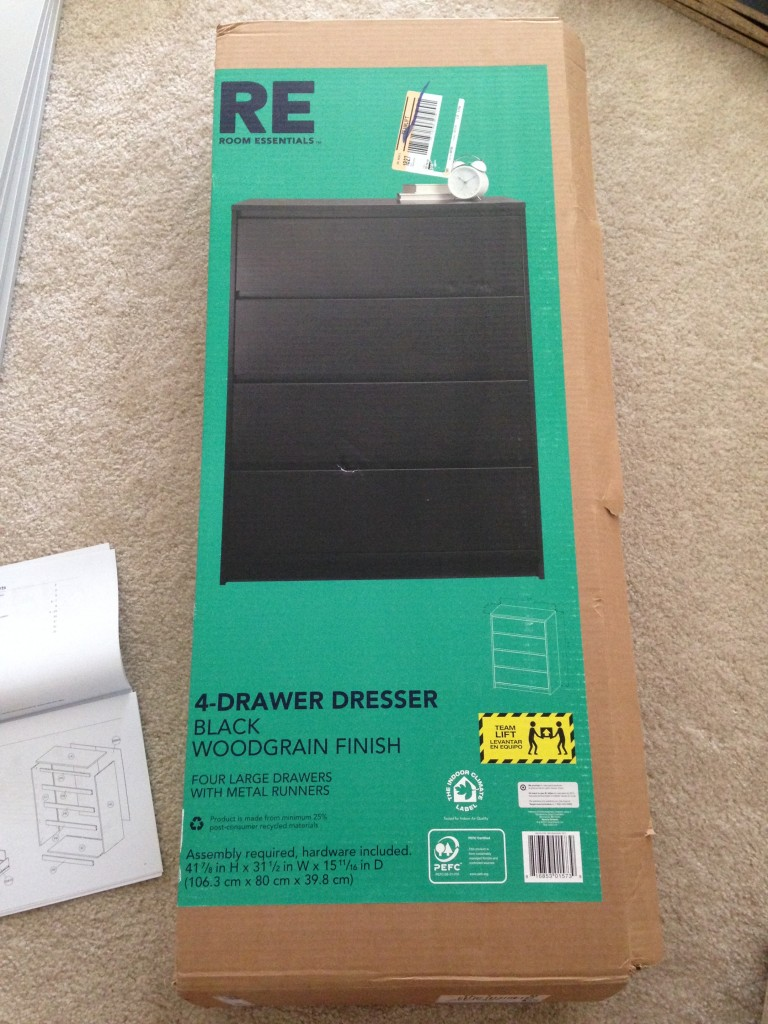 box for room essentials black 4-drawer dresser from target