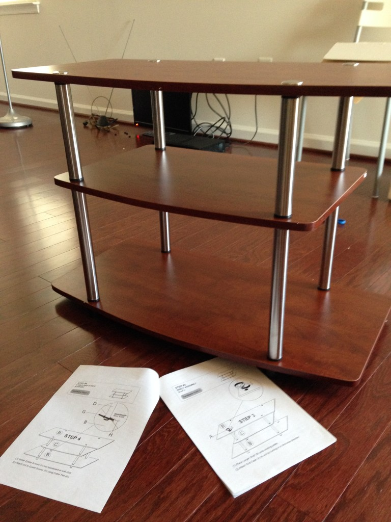 instructions for building tv stand and nearly finished product