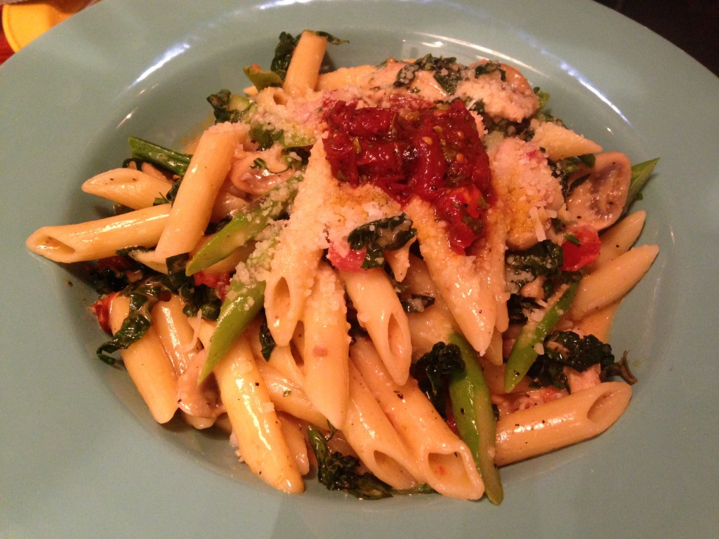 penne primavera with chicken at coastal flats