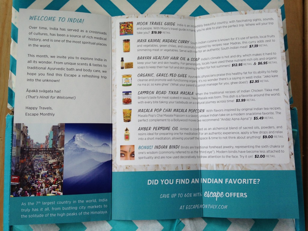 escape monthly july india box info card opened with details of products included