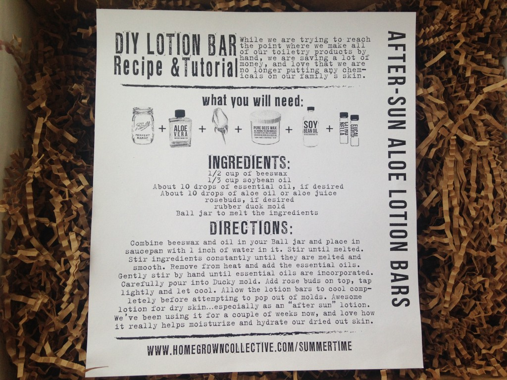 the homegrown collective june 2014 project after-sun aloe lotion bars info card