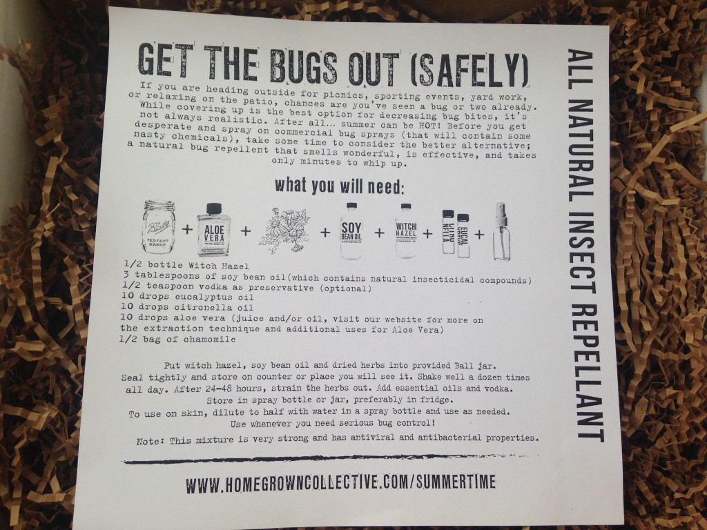 the homegrown collective june 2014 project all natural insect repellant info card