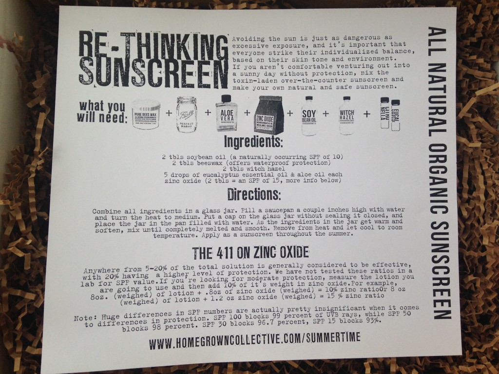 the homegrown collective june 2014 project all natural organic sunscreen info card