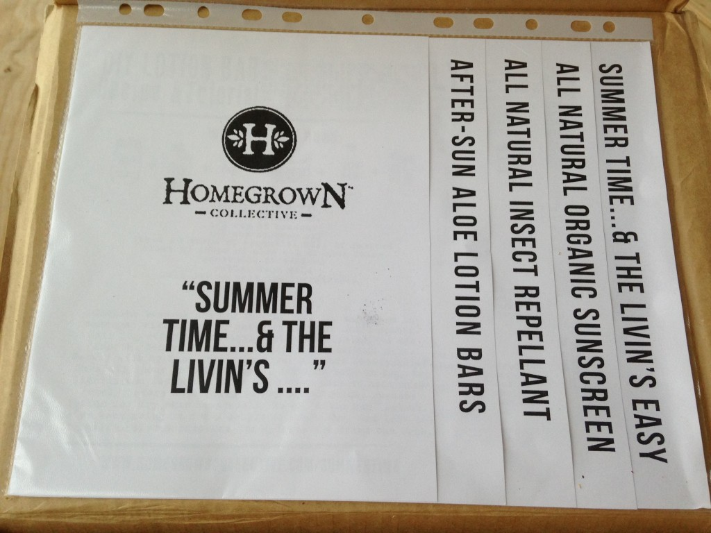 inside of summertime & the livin's easy homegrown collective box with the info sheets on the inner lid