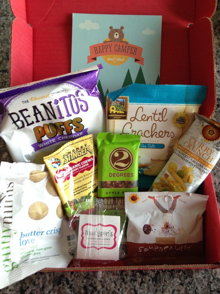contents of july 2014 love with food box including eight snacks
