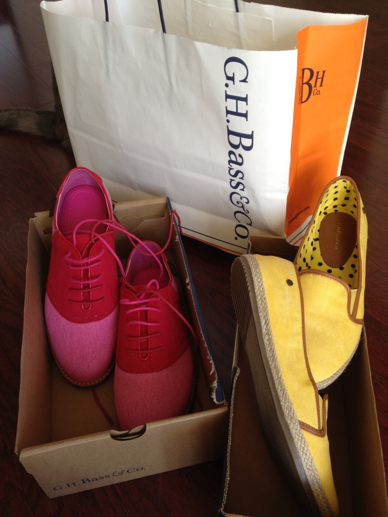 g.h. bass & co shoes elizabeth in fuchsia and sophia in yellow