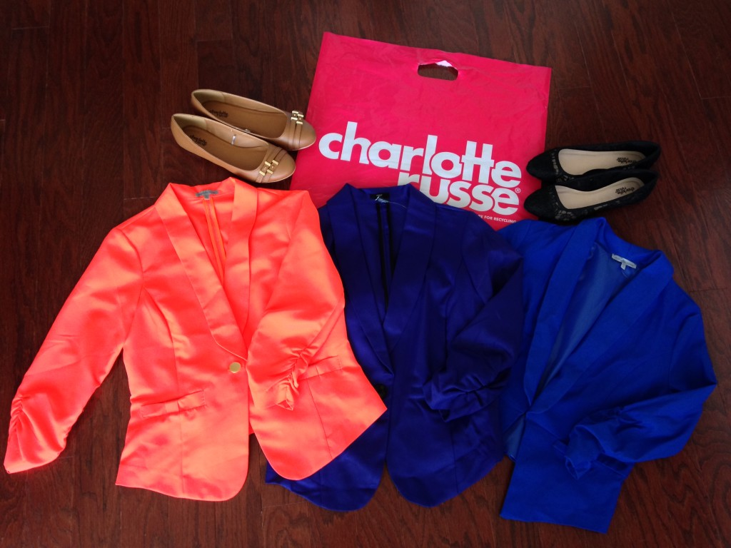 charlotte russe palmer embossed round toe two strap flats in cam, lace pointy toe ballet flats in black, and blazers in neon orange, purple, and blue
