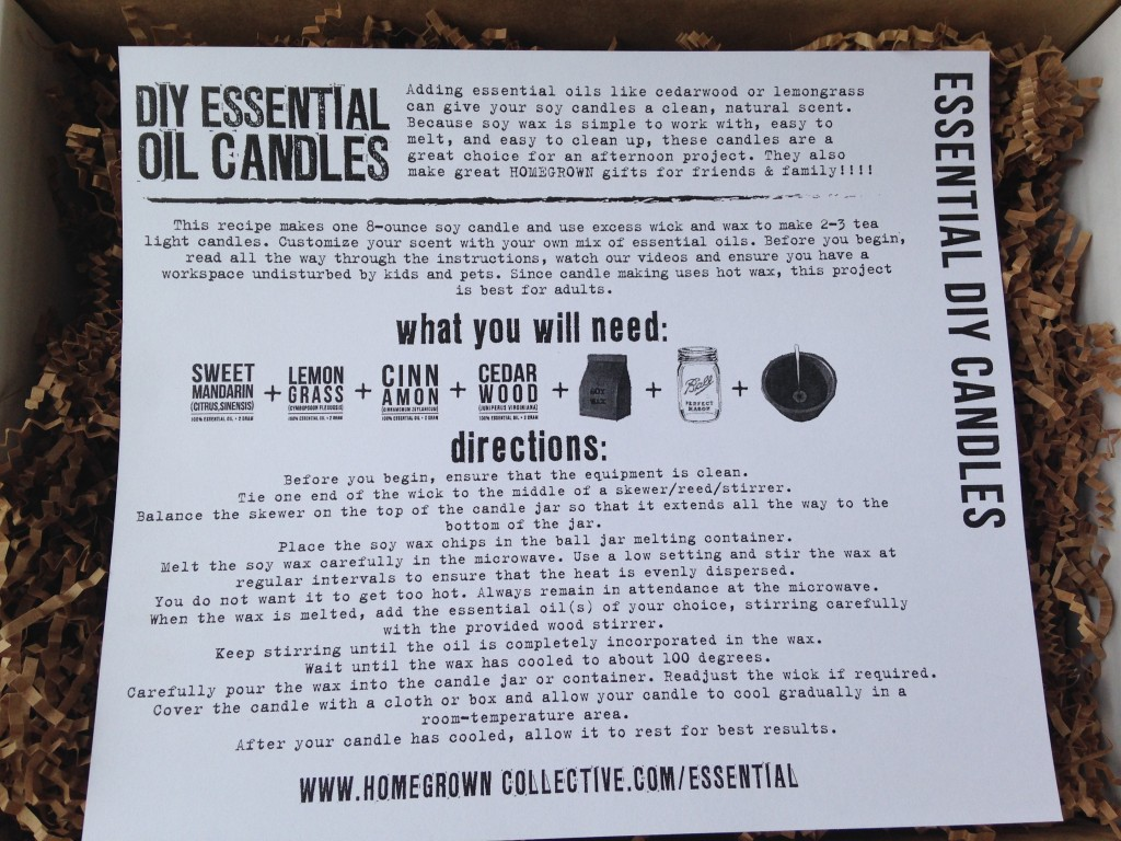 the homegrown collective july 2014 project essential oil diy candle info card