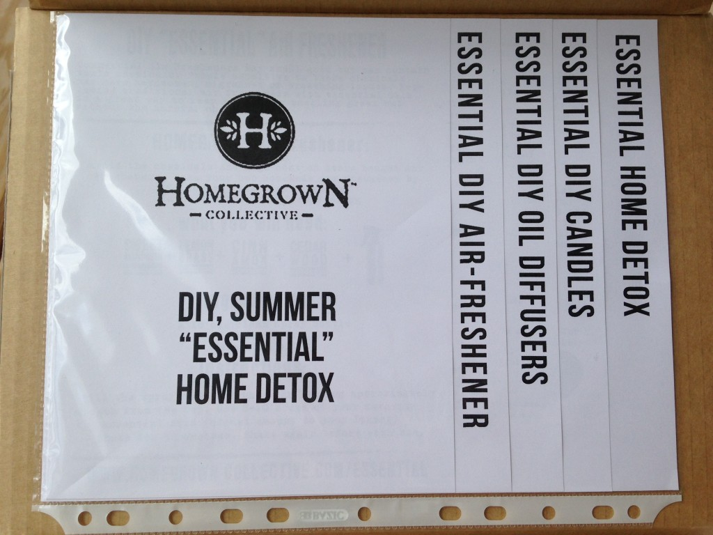 inside of diy summer essential home detox homegrown collective box with the info sheets on the inner lid
