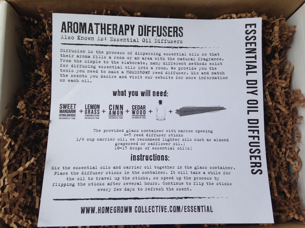 the homegrown collective july 2014 project essential diy aromatherapy oil diffusers info card
