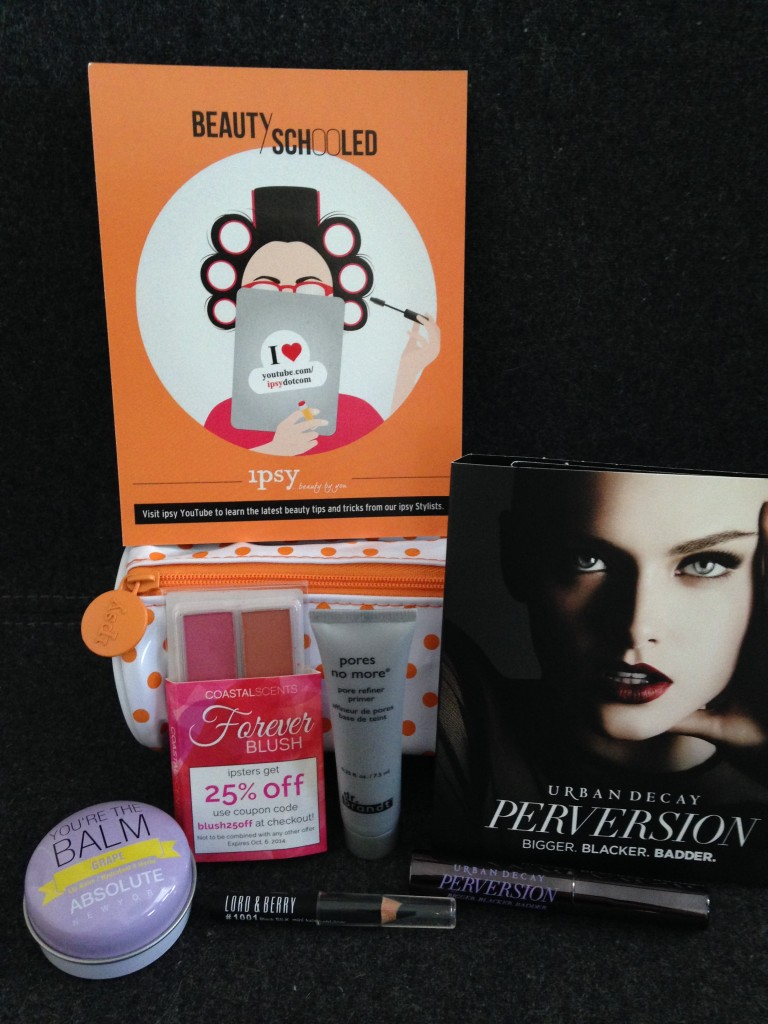 ipsy august 2014 bag items with card including absolute new york you're the balm lip balm in grape, coastal scents forever blush duo samples in fresh and elegant, dr. brandt pores no more primer, lord & berry kohl eye pencil, and urban decay perversion mascara