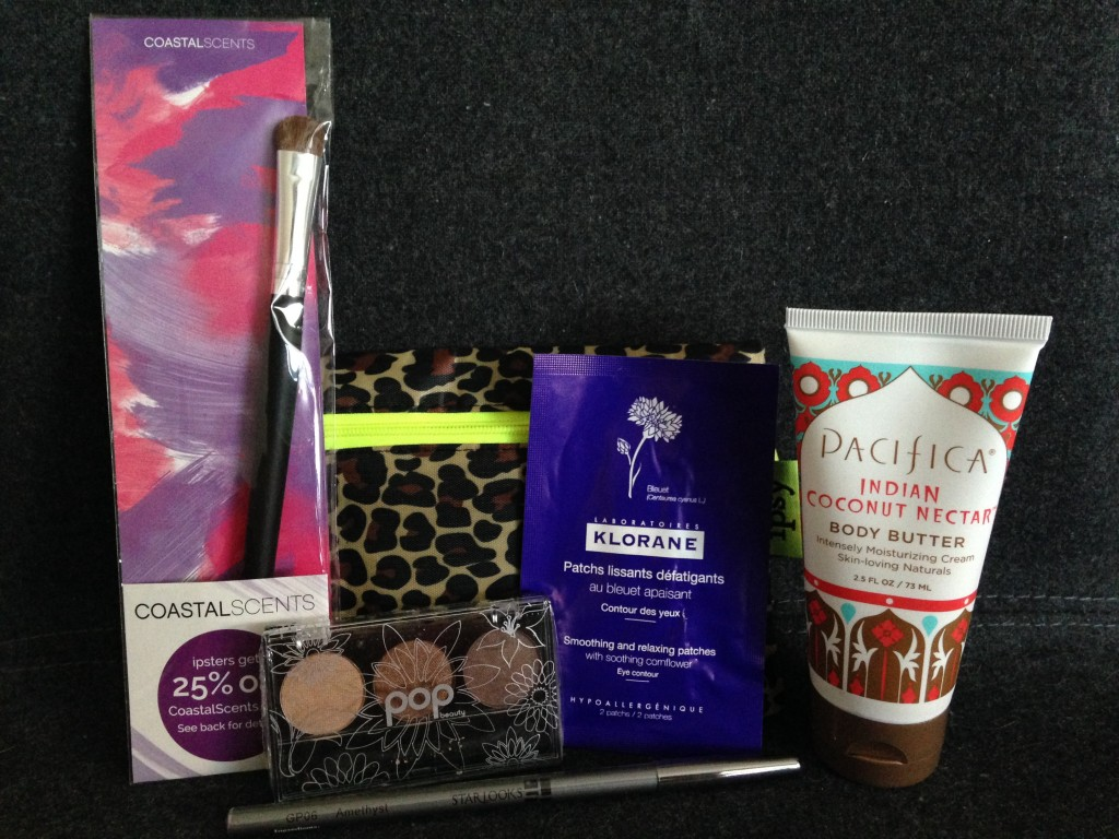 ipsypoints mystery bag items including coastal scents medium shadow brush, pop beauty eye shadow trio in naturally bare, klorane smoothing and relaxing eye patches, starlooks eyeliner in amethyst, and pacifica indian coconut nectar body butter