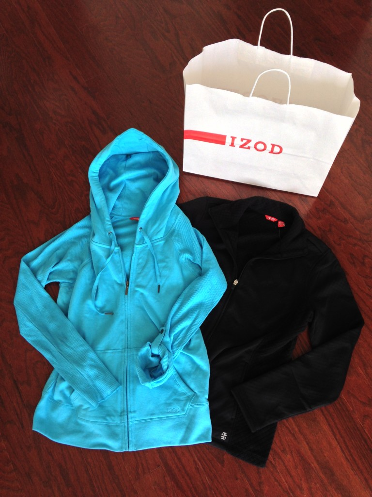 izod jackets mixed media in teal and diamond check fleece in black