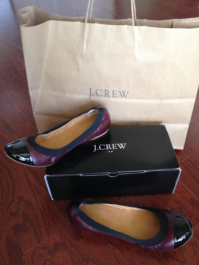 j.crew marley ballet flats in cabernet and black