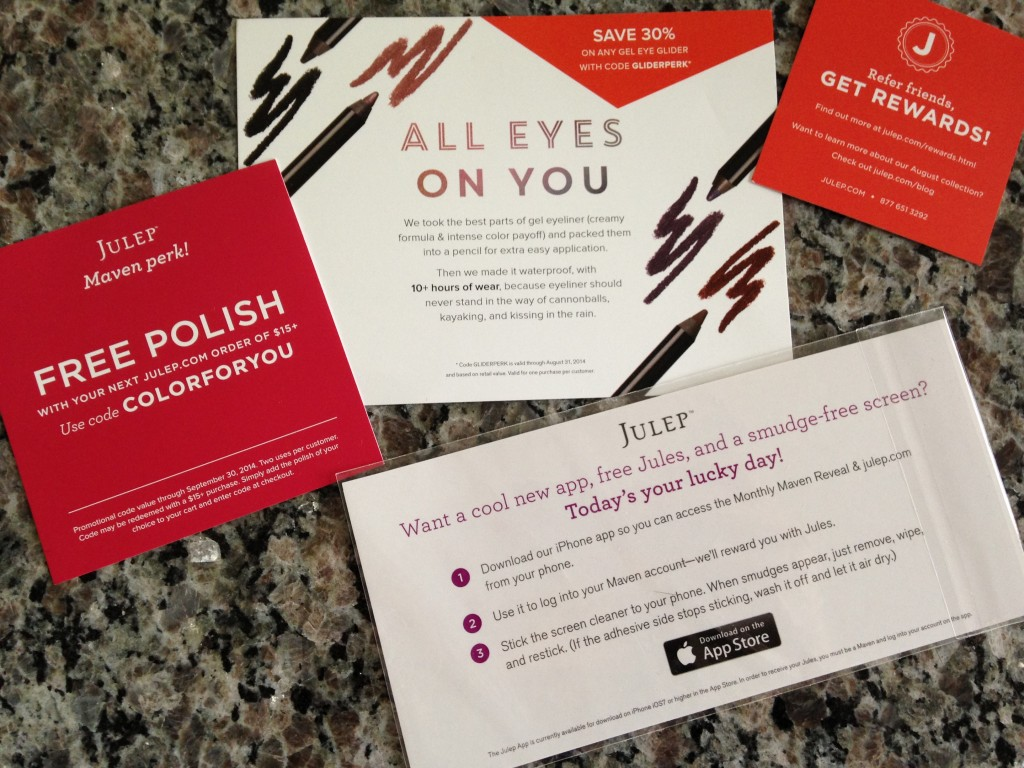 julep gel eye glider eyeliner info card, discount offer card, refer friends card, and julep app info card