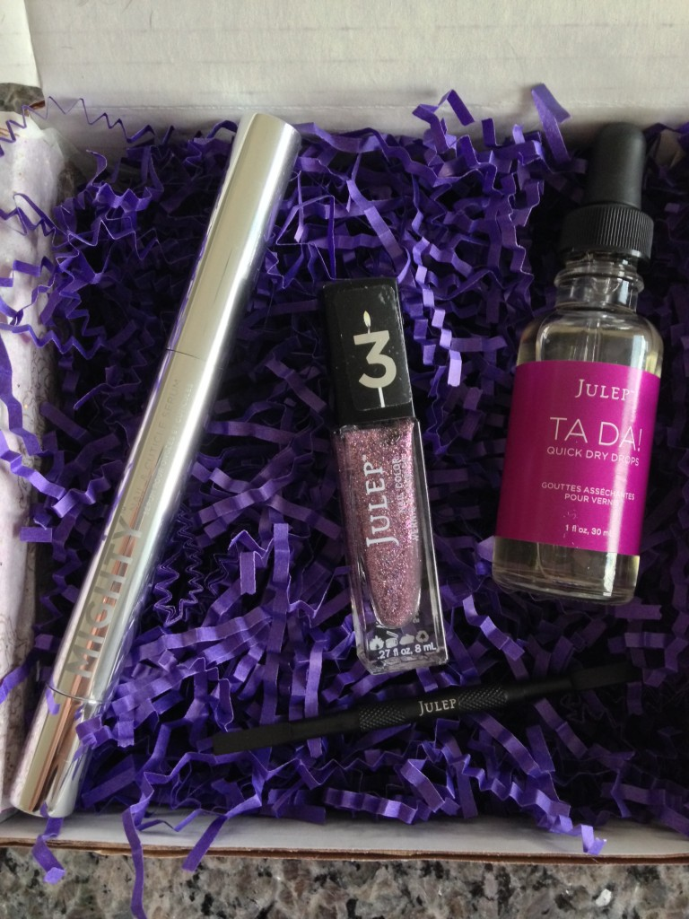 julep mighty nail & cuticle serum, queen anne polish, ta da quick dry drops, and cleanup tool