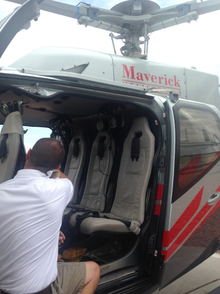 pilot explaining safety for maverick helicopter