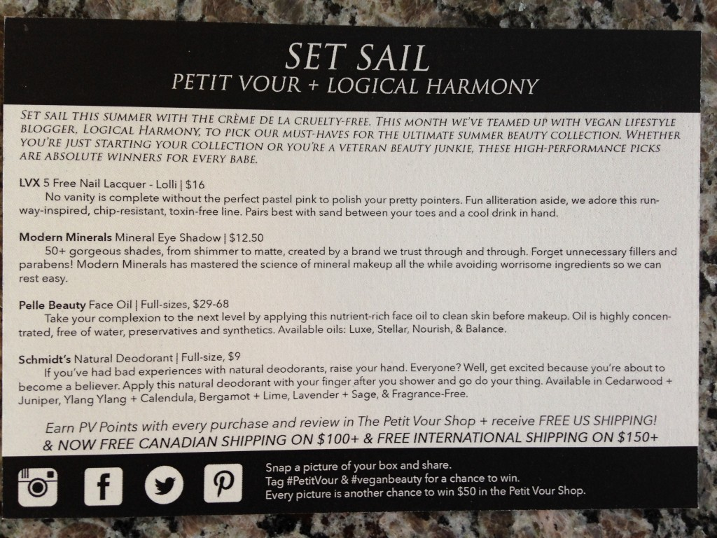 petit vour july 2014 box info card with item details