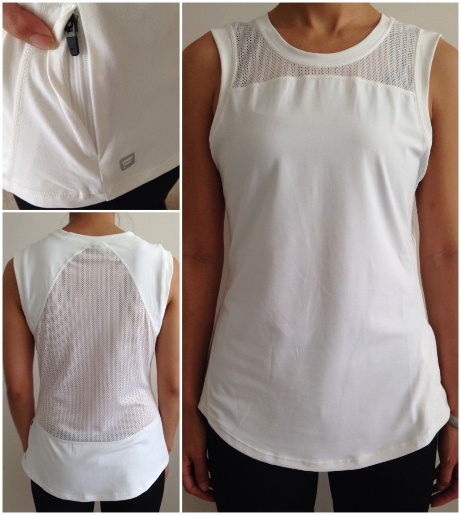 collage of front, back, and zip pocket of fabletics cayman top in white