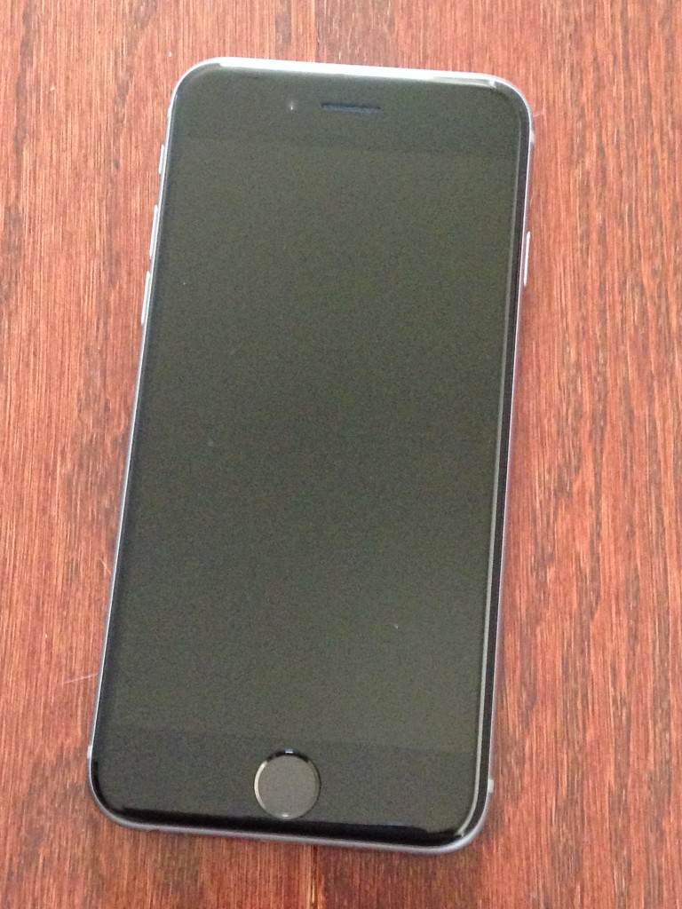 front of iphone 6 in space gray