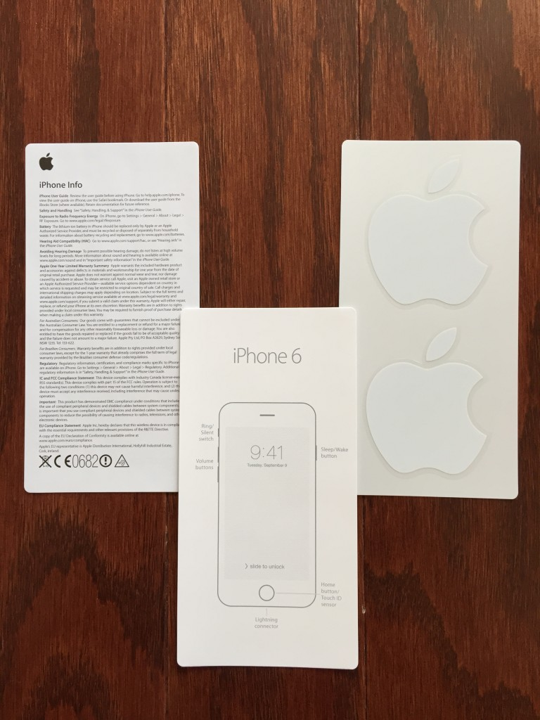 iphone 6 info cards from box