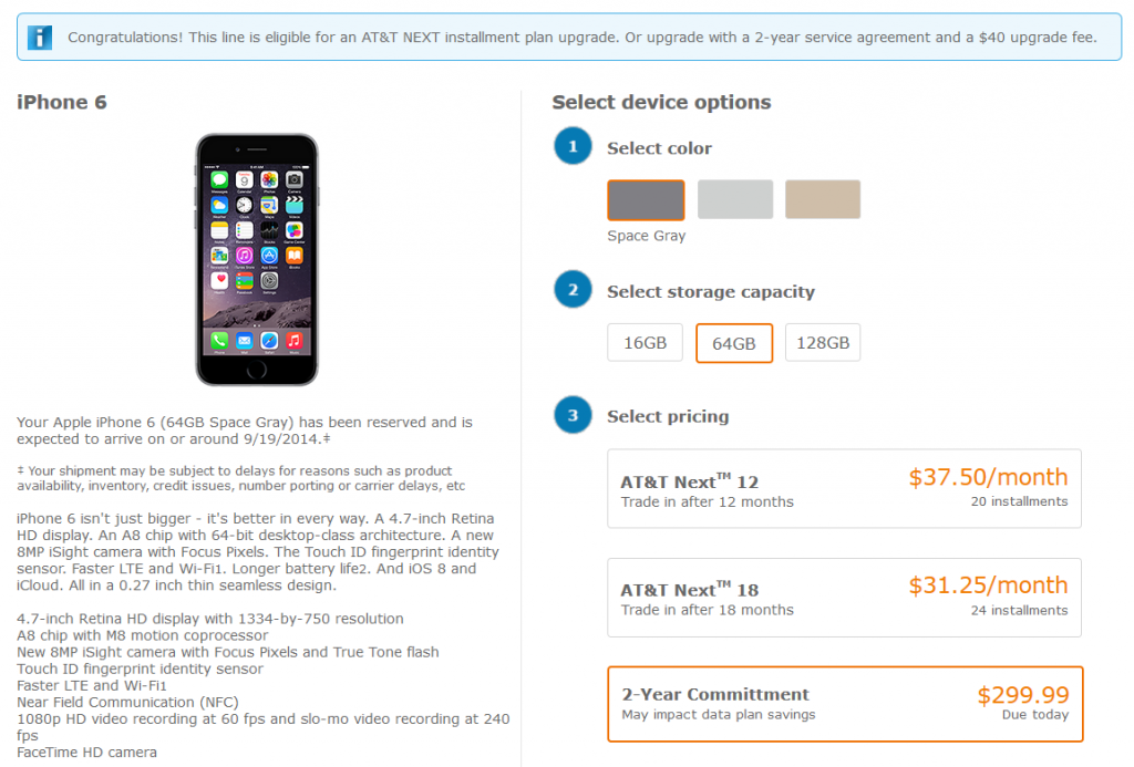 screenshot of ordering process for iphone 6 at at&t wireless