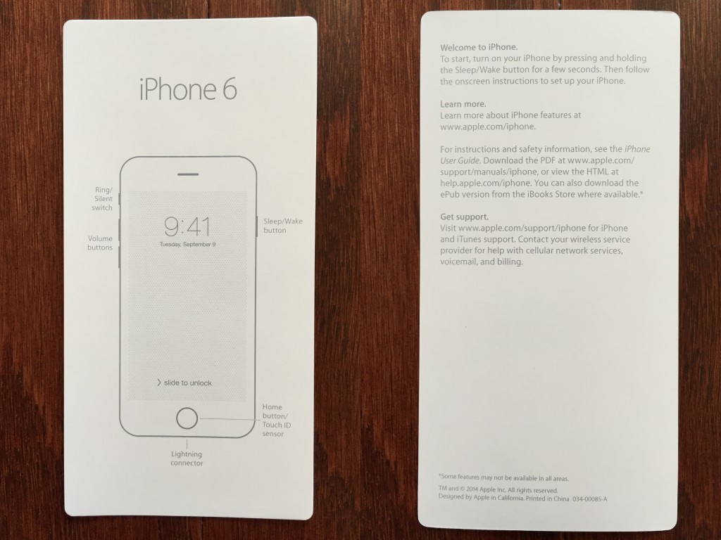 collage of front and back of iphone 6 info card with basic instructions