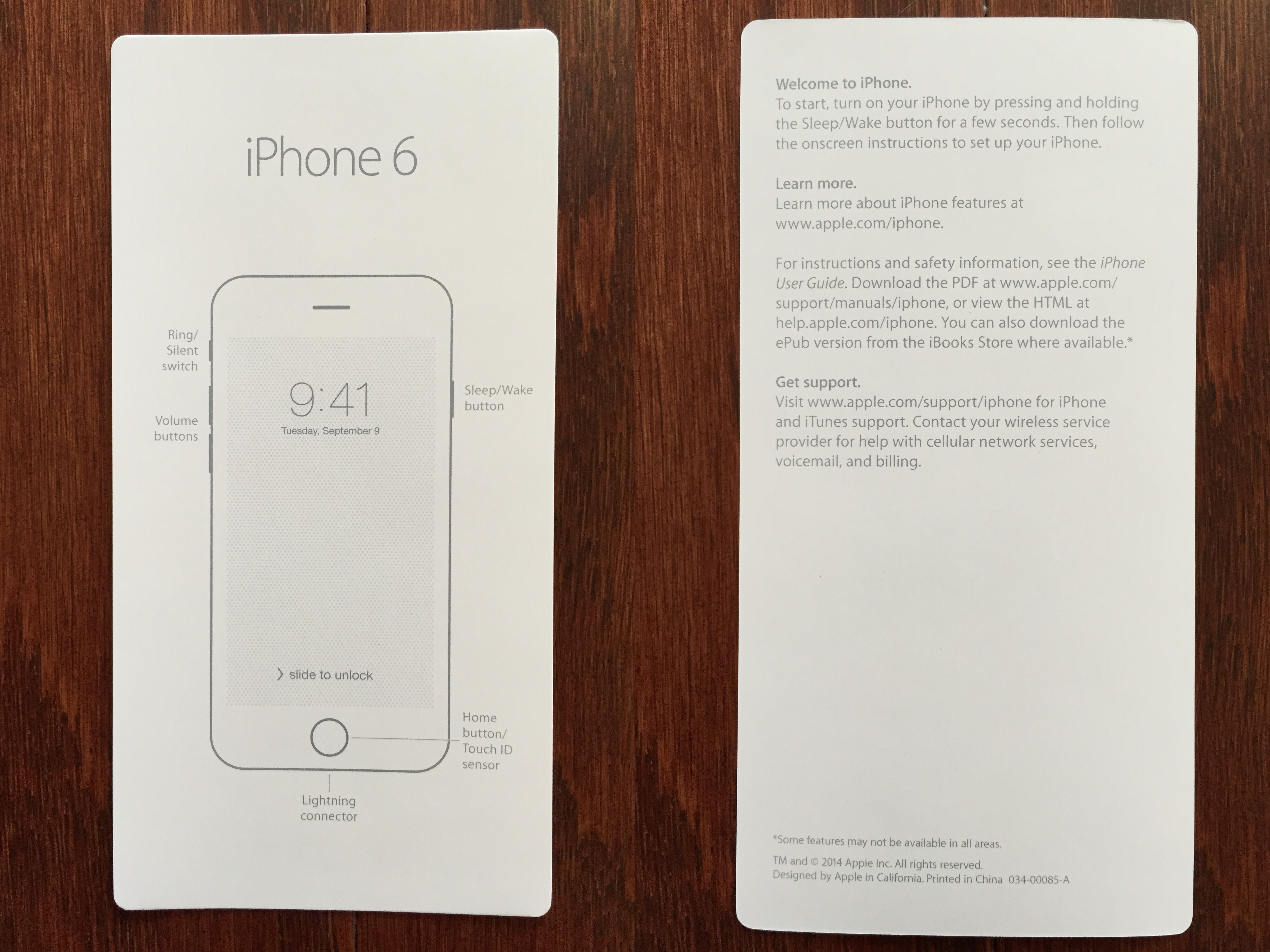 Iphone 6 voicemail volume -  Collage Of Front And Back Of Iphone 6 Info Card With Basic Instructions