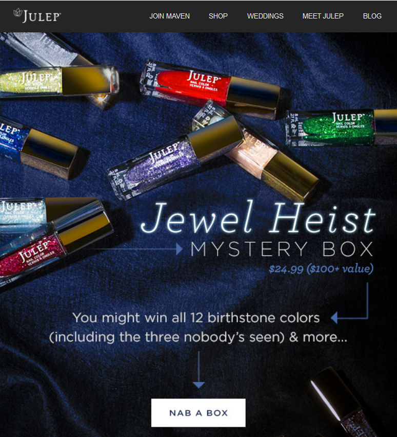 julep jewel heist mystery box email with $100+ worth of products for $25