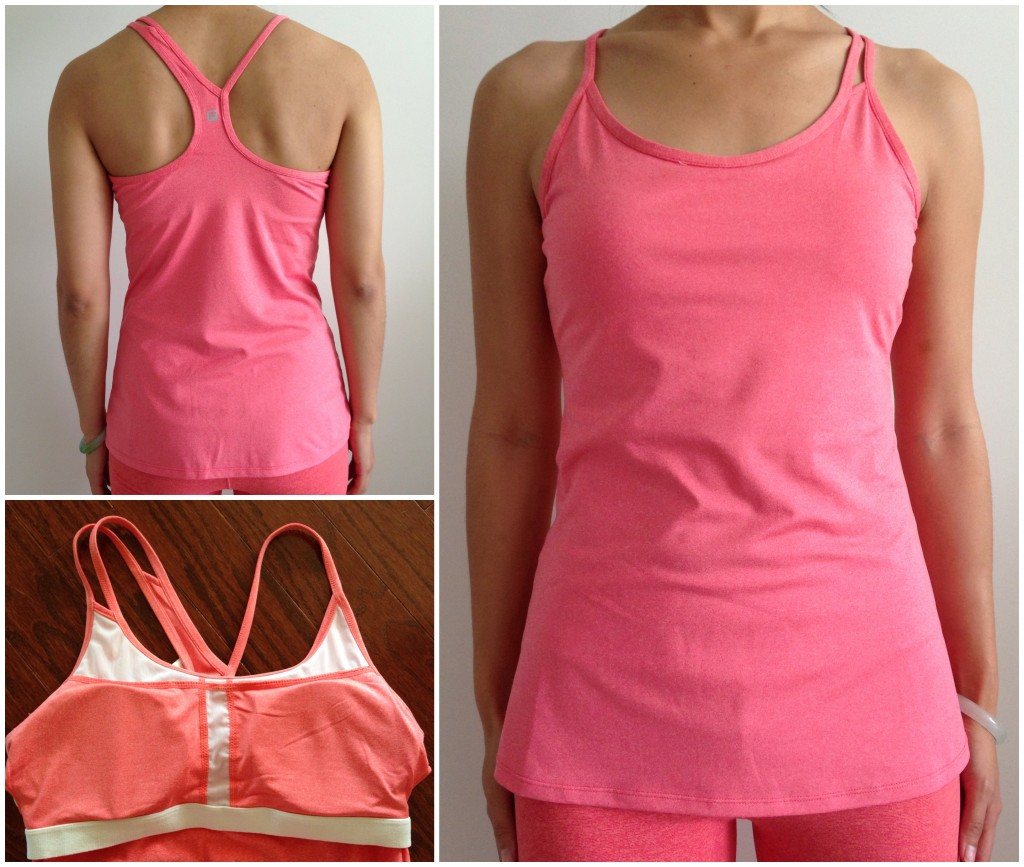 collage of front, back, and inside of fabletics omemee tank in pink grapefruit heather