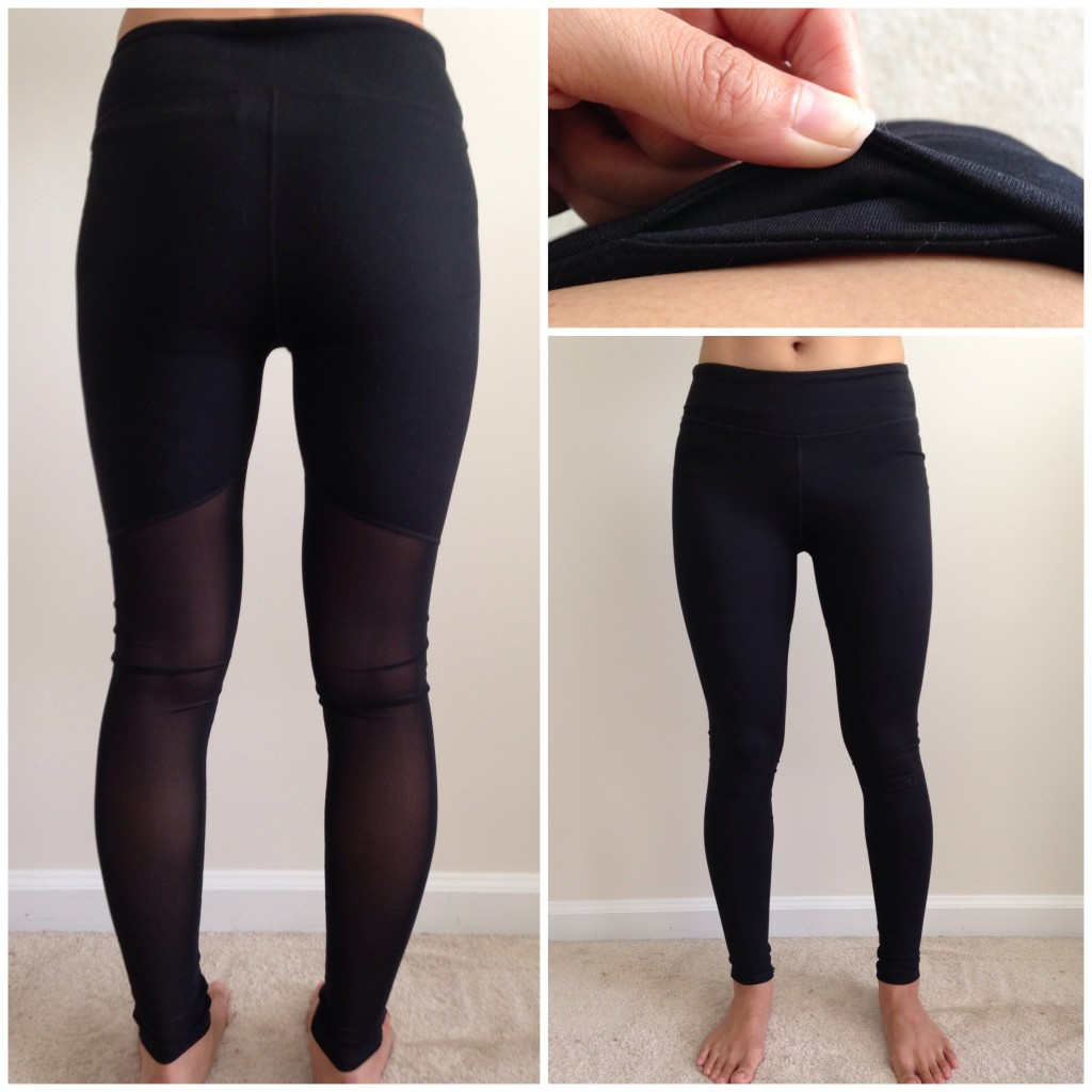 collage of front, back, and hidden pocket of fabletics rocha leggings in black