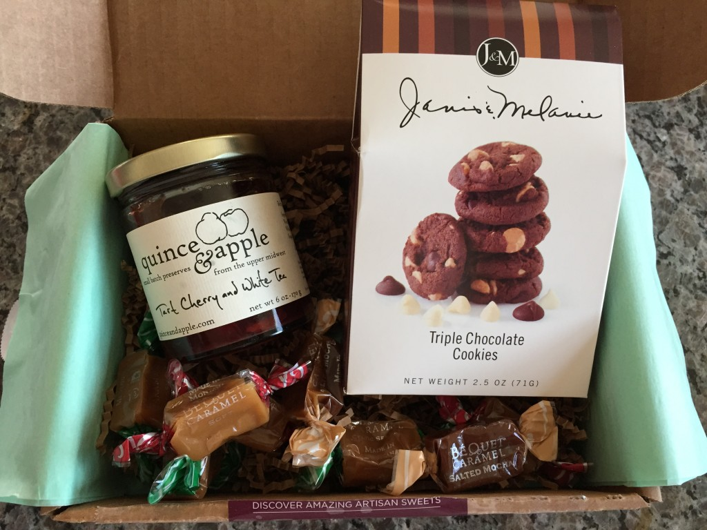 treatsie september 2014 box contents with quince & apple tart cherry and white tea preserves, j&m triple chocolate cookies, and bequet confections caramels