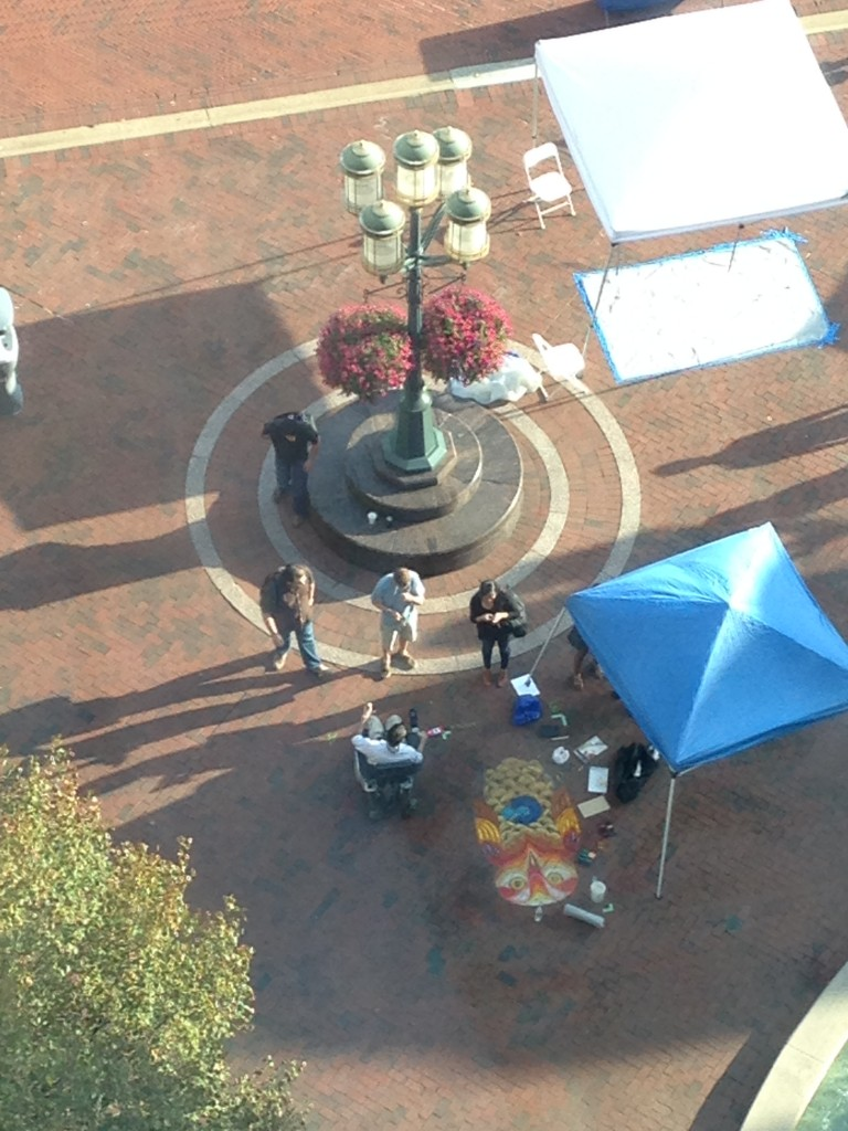 aerial view of chalkf art drawing of owl for chalkfest reston