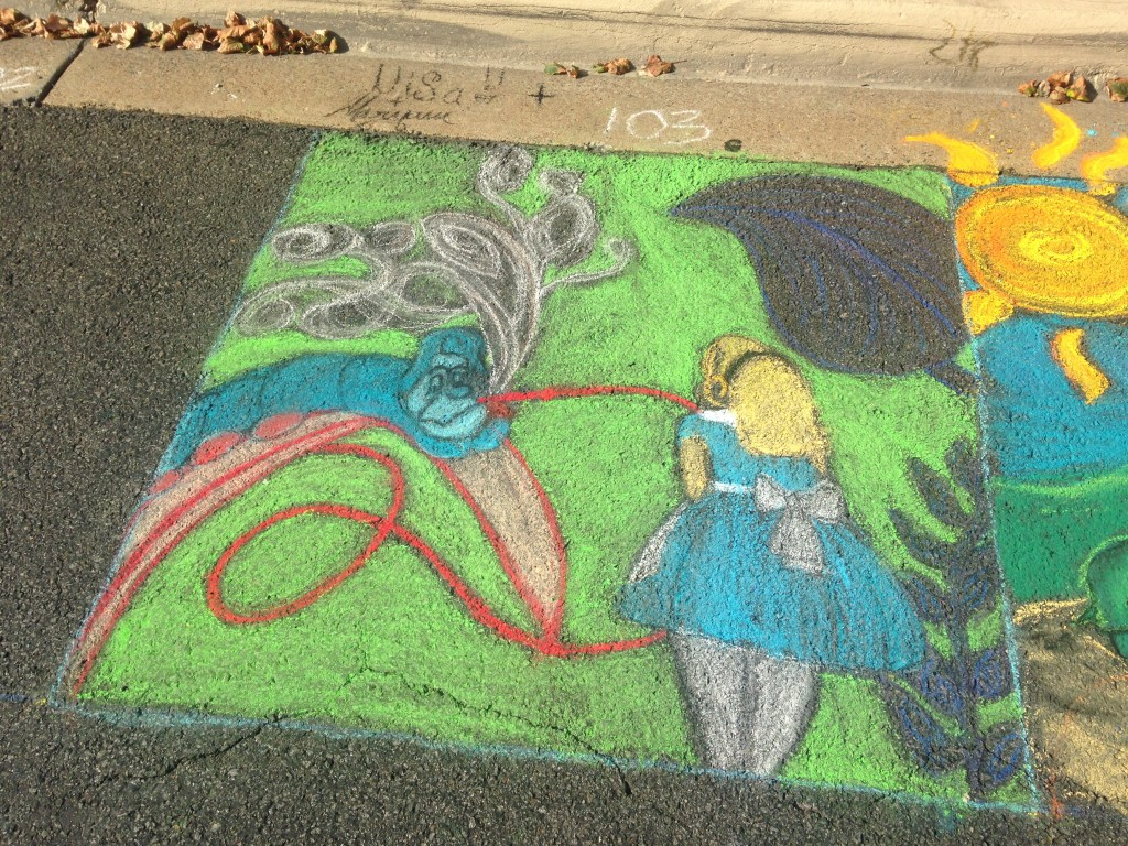 chalkfest reston chalk art drawing of alice in wonderland scene