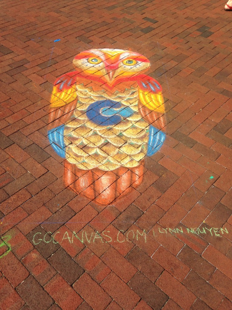 chalkfest reston chalk art drawing of colorful owl with canvas logo