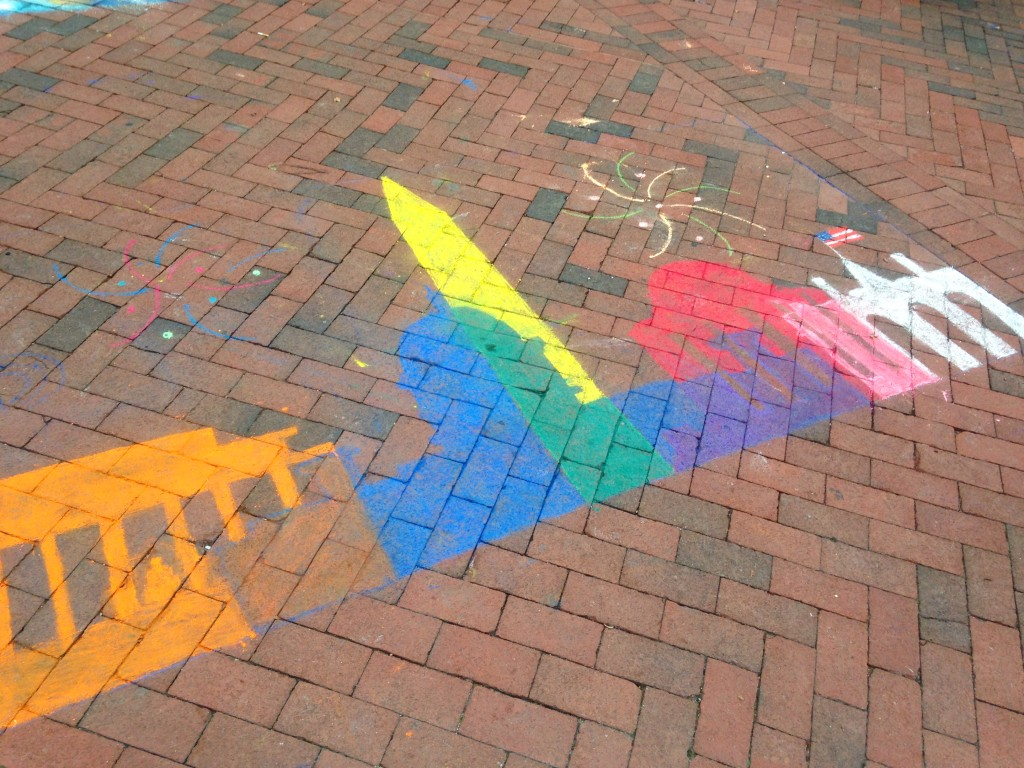 chalkfest reston chalk art drawing of silhouettes of buildings in dc
